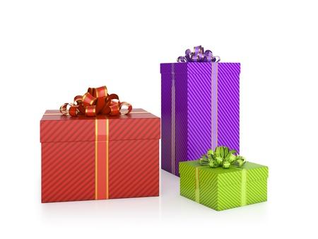 3D illustration of different coloured gift boxes on white background illustration