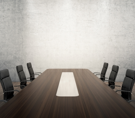 conferences: 3D render of meeting room with wooden table and black armchairs next to the wall with spotlights Stock Photo
