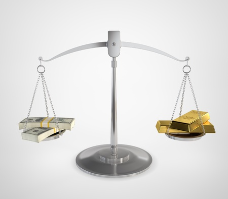 antique scales: 3D illustration of scales of justice with bundle of money on one side and gold ingots on the other.