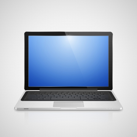 laptop vector: High detailed realistic vector illustration of modern laptop with blue screen on gray background.