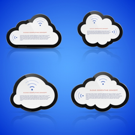 Vector illustration of abstract clouds on blue background. Cloud computing concept. Vector