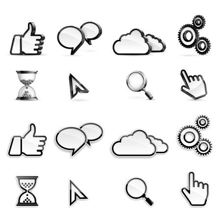 pointer stick: Vector set di diversi alti icone dettagliate dei media. Vettoriali