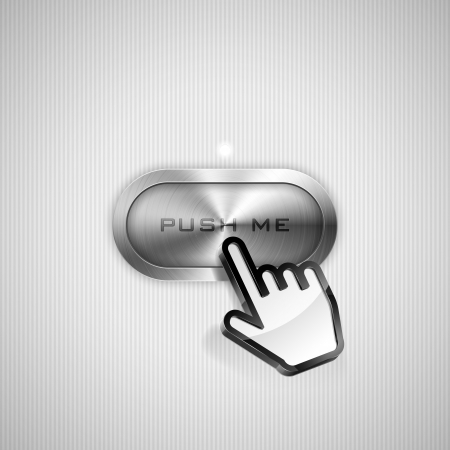 Vector illustration of hand cursor pointing to metallic button. Vector