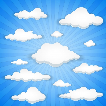 sunbeams: Abstract vector background of white clouds in blue sky