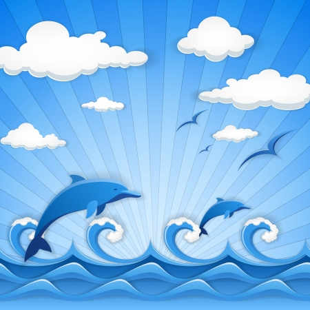Abstract vector illustration of blue seascape Vector