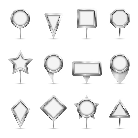 distance marker: Vector illustration of different types of metallic map markers.