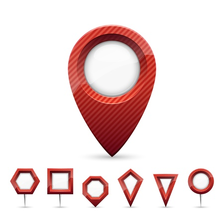 distance marker: Vector illustration of different types of red map markers. Illustration