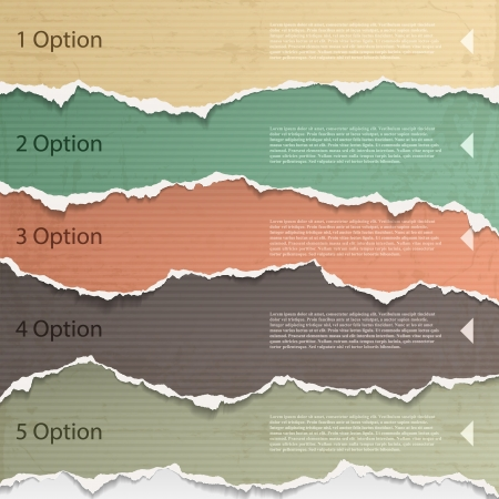 Elementi di design - Multi carta strappata colorato. Vettoriali