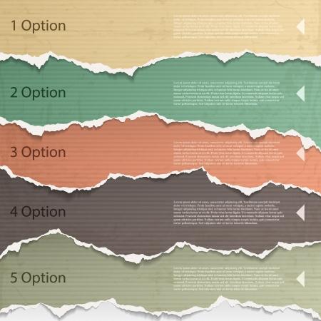 Elementos de diseño: papel rasgado multicolor. Ilustración de vector