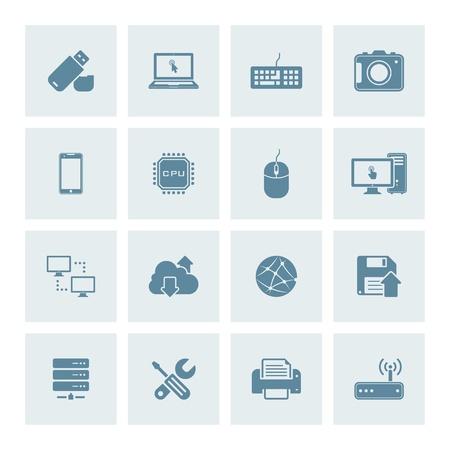 Vector set of 16 technology icons Vektorové ilustrace