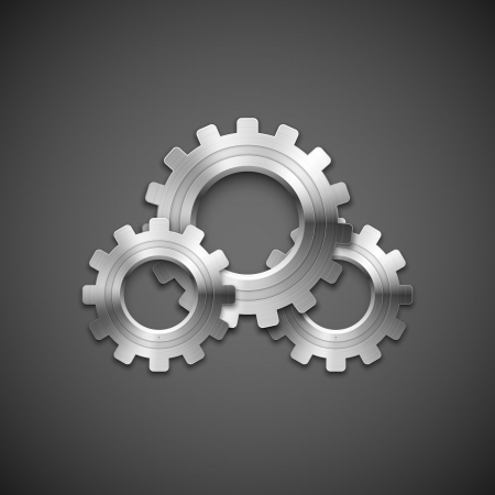 Metallic cogwheels with brushed surface on gray background Vector