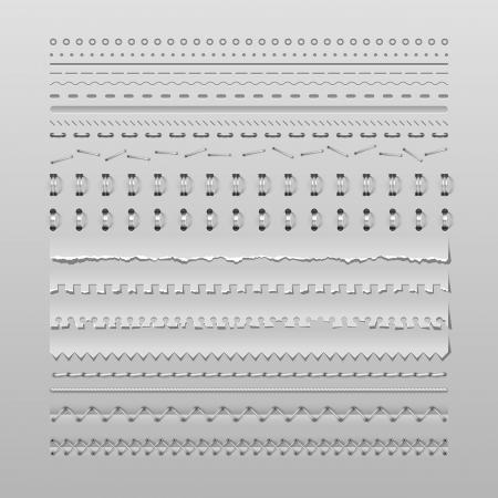 デザイン要素ベクトルを高詳細なステッチと分周器の設定  イラスト・ベクター素材
