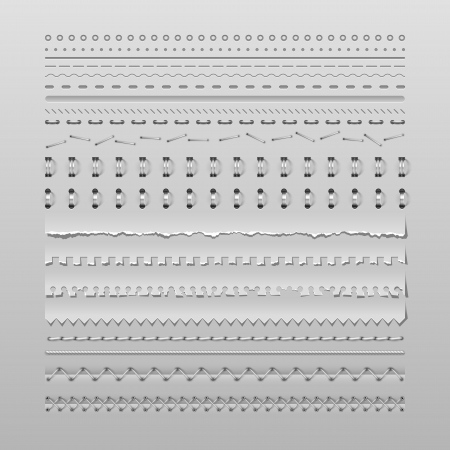 seam: Design elements vector set of high detailed stitches and dividers