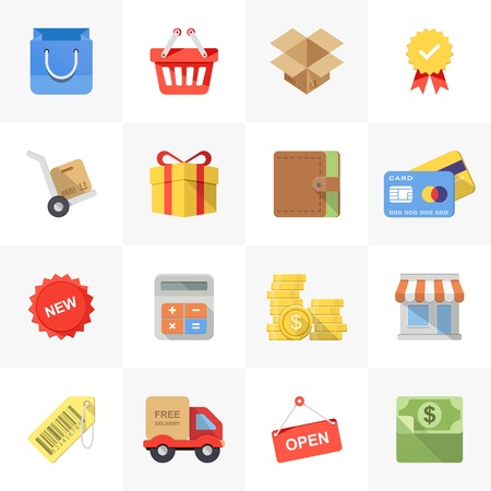 cash box: Vector set of modern flat and colorful shopping icons.