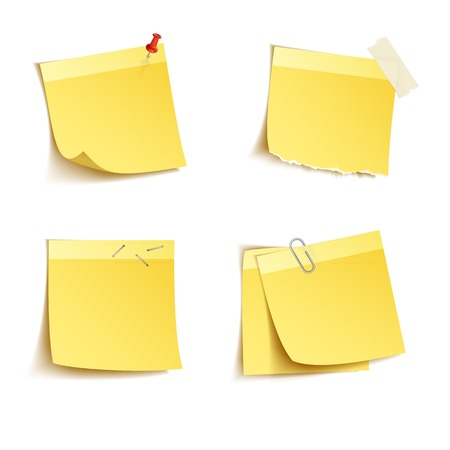 adhesive tape: Yellow sticky notes with push pin and clip isolated on white background