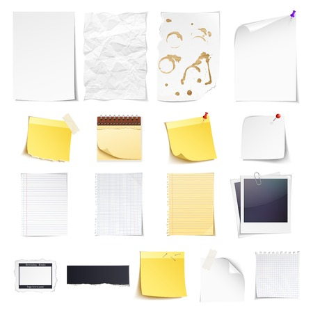 Design elements Notebook, simple white paper, grungy torn paper, lined and squared notepad pages, photo frame, news paper cut and sticky notes isolated on white background