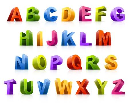 tipos de letras: Elementos del dise�o Ilustraci�n vectorial de coloridas tres letras dimensionales