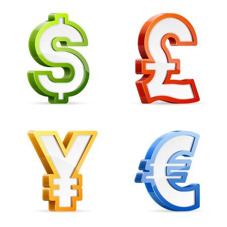 Ensemble de vecteur de symboles monétaires couleurs sur papier glacé Vecteurs