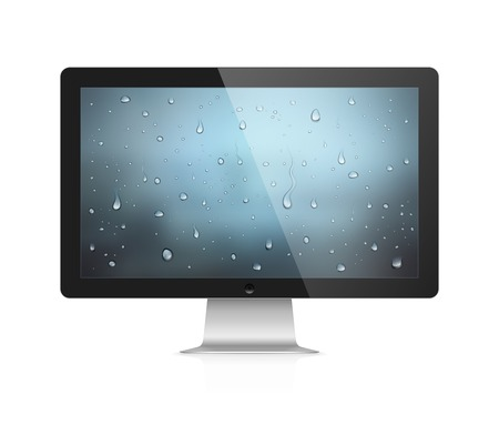 lcd display: Realistic vector illustration of computer monitor with water drops wallpaper on screen isolated on white background