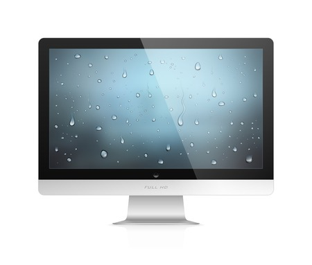 Realistic vector illustration of computer monitor with water drops wallpaper on screen isolated on white background Stock Vector - 23116008