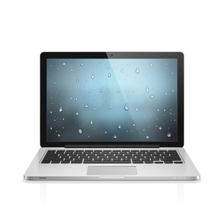 High detailed realistic vector illustration of modern laptop with water drops wallpaper on screen isolated on white background Stock Vector - 23116012