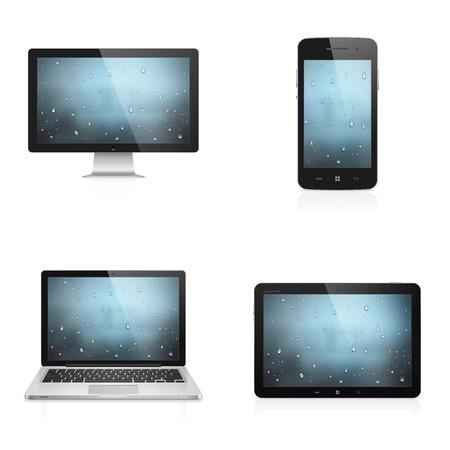 물과 전자 기기의 현실적인 높은 상세한 벡터 일러스트 레이 션 흰색 배경에 고립 된 화면에 배경 화면을 삭제