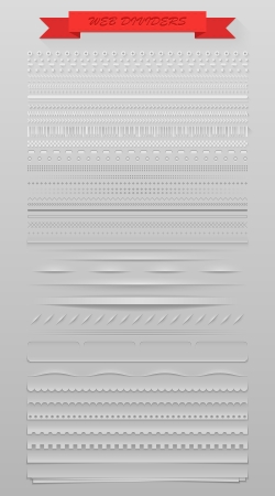 page long: Design elements vector set of high detailed web dividers