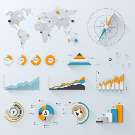 visualize: Design elements. Vector illustration of business infographics. Set of 3D infographics with long shadow. Illustration