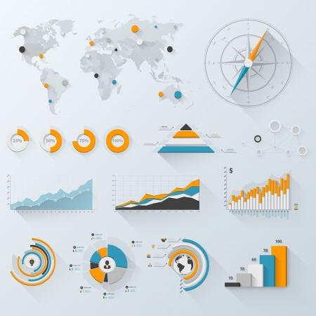 visualize: Elementi di design. Illustrazione vettoriale di infografica aziendali. Set di infografica 3D con ombra lunga.