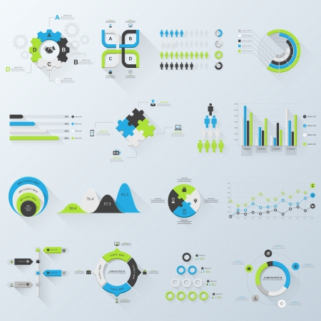 Design elements. Vector illustration of business infographics. Set of 3D infographics with long shadow. Illustration