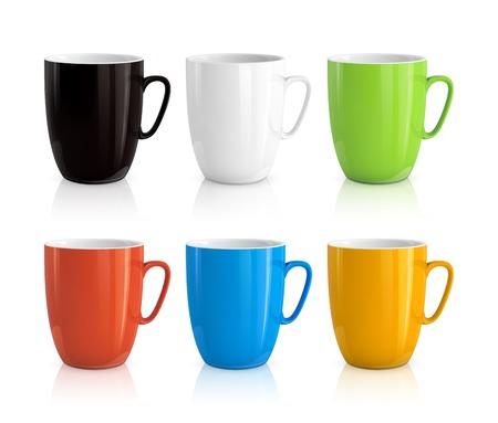 Hoge gedetailleerde vector illustratie van kleurrijke kopjes geïsoleerd op een witte achtergrond