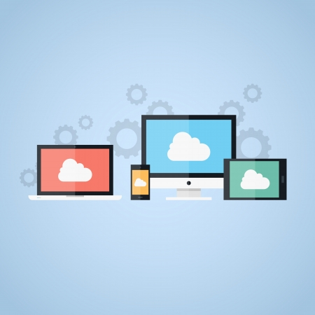 data storage: Vector illustration of cloud computing concept on different electronic devices