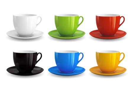 tazza di th�: Alta dettagliata illustrazione vettoriale di tazze colorate isolato su sfondo bianco Vettoriali