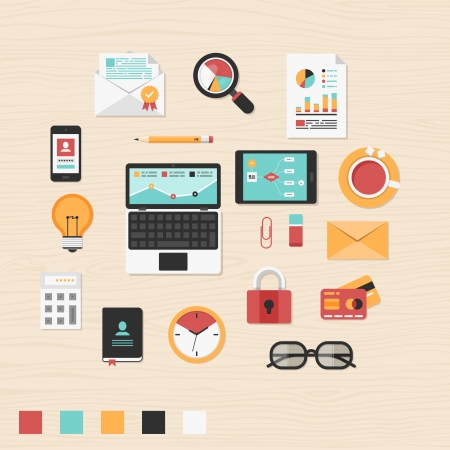 at desk: Vector collection of modern trendy flat business and office icons on table