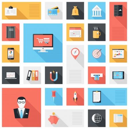 gestion documental: Vector colecci�n de iconos modernos, de oficina y negocios simples, planas y de moda con larga sombra Vectores