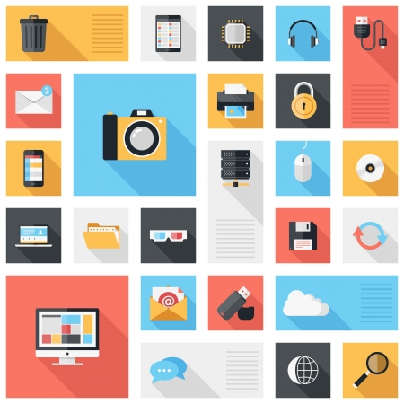 Vector collection of colorful flat technology and multimedia icons with long shadow  Design elements for mobile and web applications  Illustration