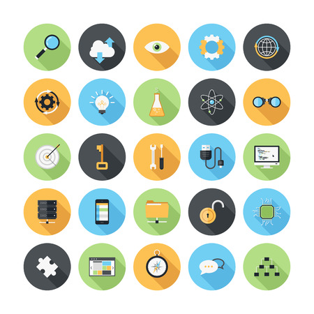 Vector illustration of modern, simple, flat seo and development icons with long shadow  Design elements for mobile and web applications  Vector