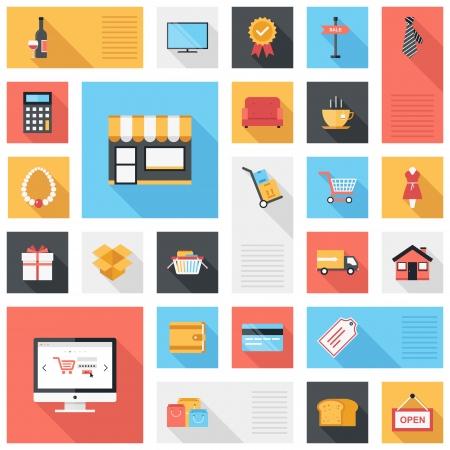 상업: 모바일 및 웹 응용 프로그램의 긴 그림자 디자인 요소와 현대 평면과 다채로운 쇼핑 아이콘의 벡터 컬렉션
