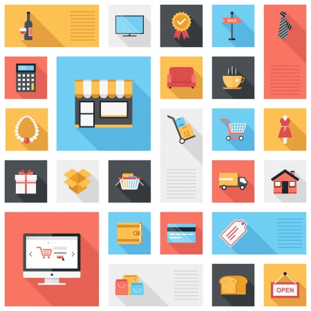 Vector collection of modern flat and colorful shopping icons with long shadow  Design elements for mobile and web applications  Vector