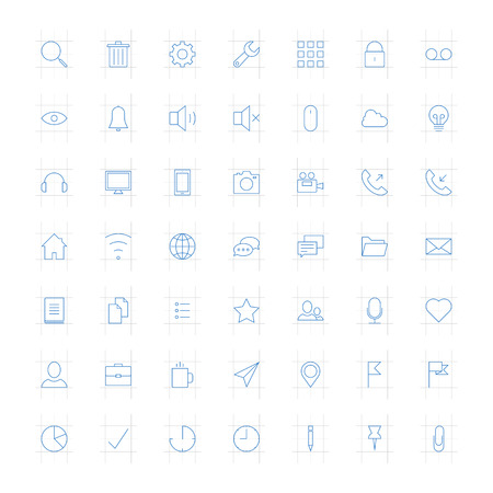 Vector set of modern simple thin icons  Design elements for mobile and web applications  Vector