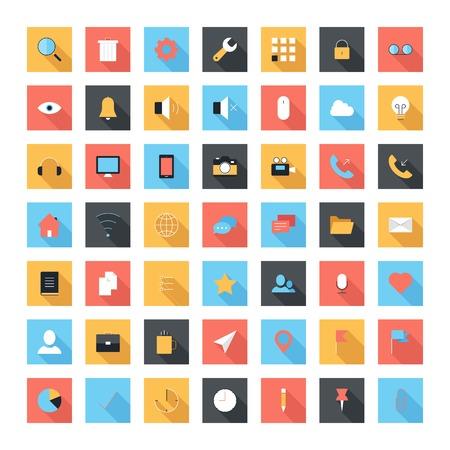 Uzun gölge ile modern ve sade düz ikonlar vektör kümesi. Mobil ve web uygulamaları için tasarım öğeleri.