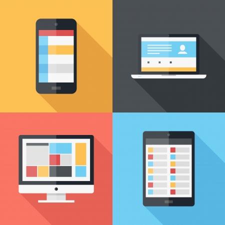 icono computadora: Ilustración vectorial de plantilla de menú de aplicaciones en diferentes dispositivos electrónicos Vectores