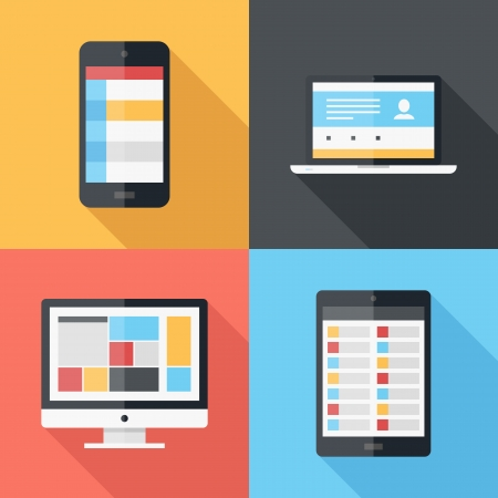 computer icon: Vector illustration of application menu template on different electronic devices Illustration