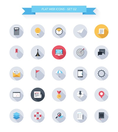 office icons: Vector collection of modern, simple, flat and trendy business and office icons with long shadow.