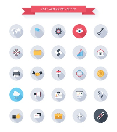 Vector collection of modern, simple, flat and trendy business and office icons with long shadow. Vector