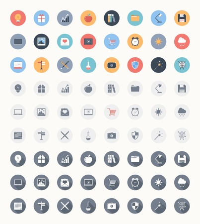 save button: Vector set of modern trendy and flat web icons in three different styles - colorful, outlined and outlined with long shadow.
