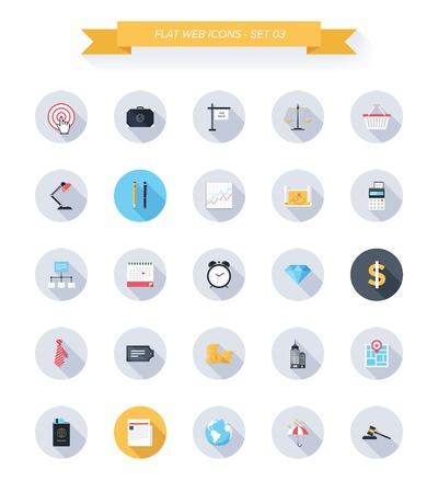 oficina: Vector colección de iconos de negocios y de oficinas modernos, simples, planas y de moda con una larga sombra. Vectores