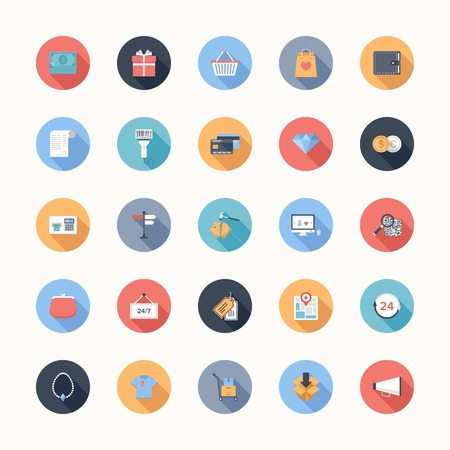 Vector collection of modern flat and colorful shopping icons with long shadow. Design elements for mobile and web applications. Vector