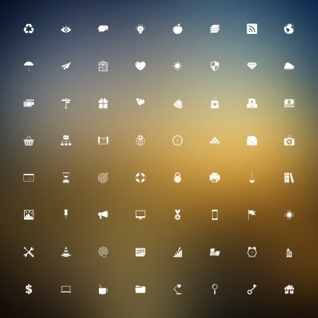 Vector set of universal outlined web icons on blurred background. Vector