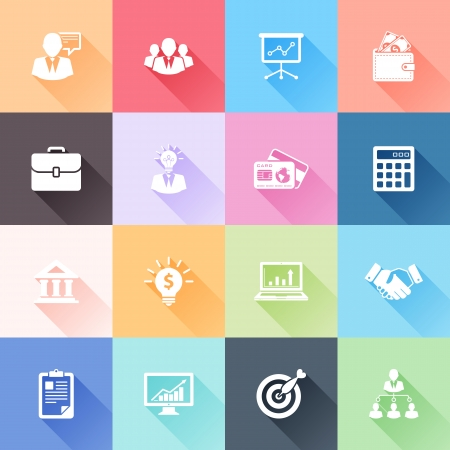 business: Vector set di 16 icone piane d'affari con una lunga ombra